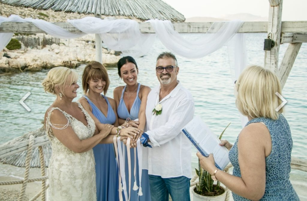 Greek island beach wedding handfasting