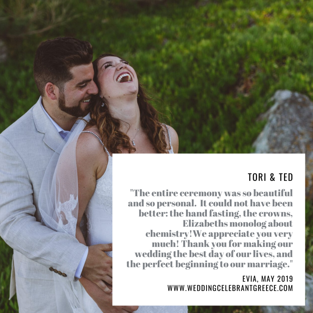 The couple are embracing and the bride is laughing with her head thrown back. The writing on the photo is the testimonial of the couple for their wedding ceremony in Greece which was held at Villa Delenia, Evia and performed by ECK - A wedding celebrant in Greece