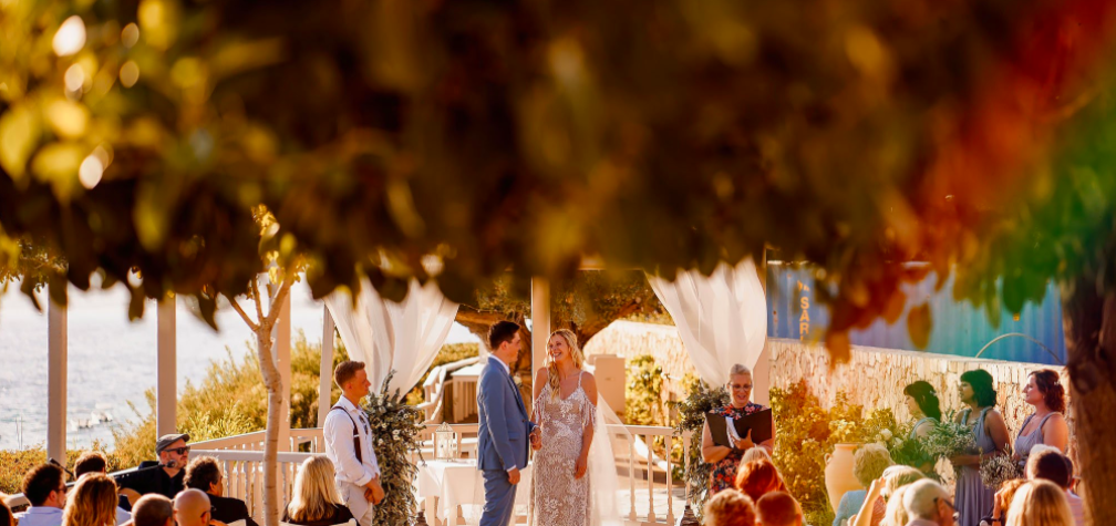 a beautiful wedding ceremony at Philosophia with a wedding celebrant in Greece