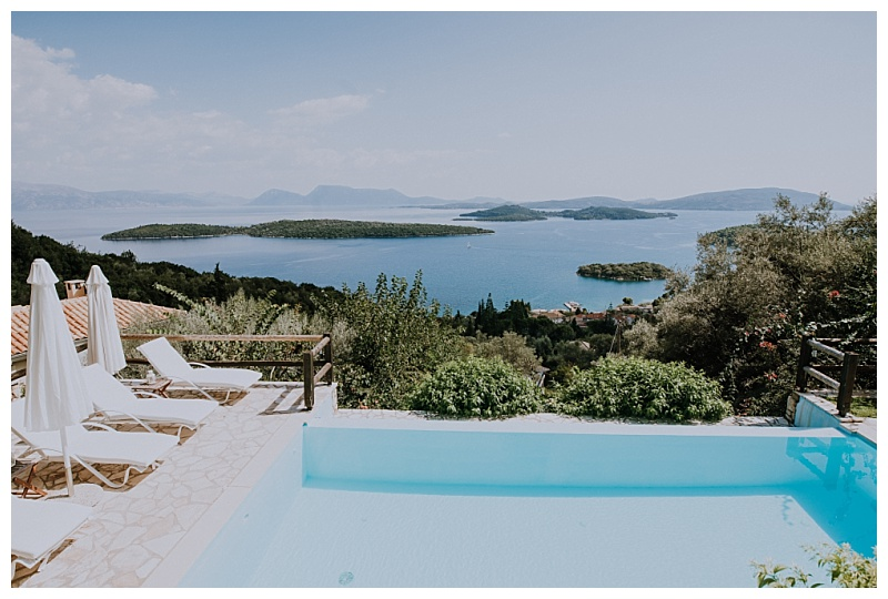 An infinity swimming pool overlooking the tiny islands in the Ionian sea.