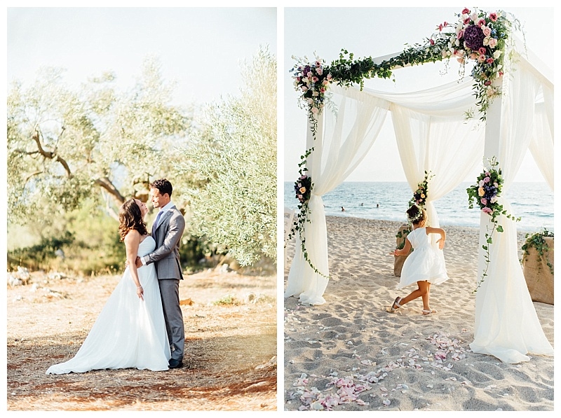 A wedding couple in an olive orchard after their wedding in Lefkas. The next image is a young bridesmaid dancing under a wedding arch on the beach in lefkas