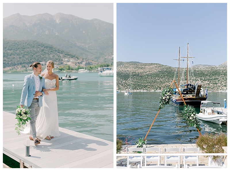 A wedding couple stroll along the waters edge in Lefkas, the groom holds a bouquet of flowers and foliage. The second image is a triangle shaped arch infront of a boat on the water in lefkas, greece.