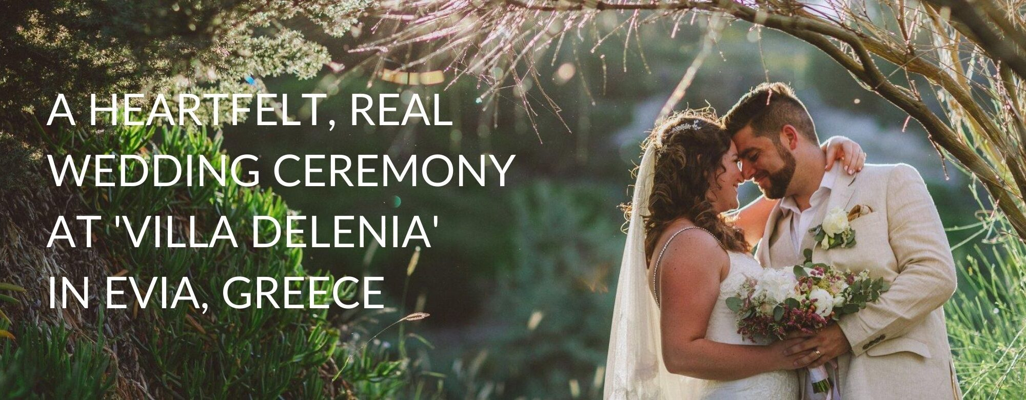 A newly married couple after their wedding ceremony at Villa Delenia in Evia, Greece