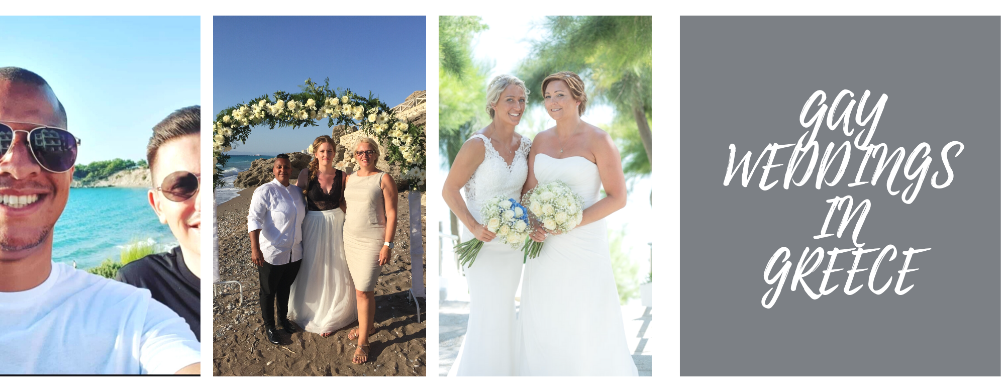 Montage of gay couples for gay weddings in Greece
